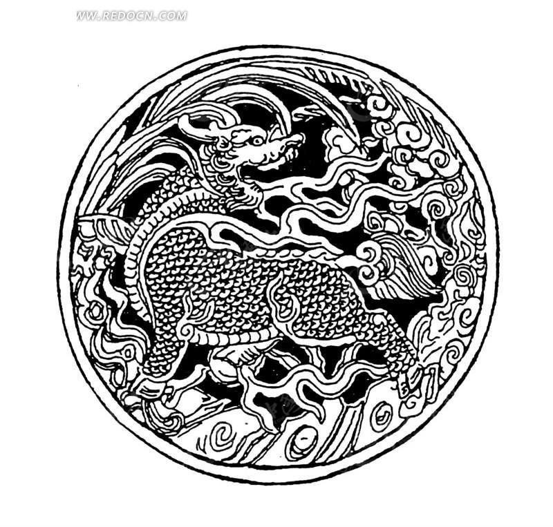 手绘 沧海 海浪 麒麟兽  传统图案 矢量素材