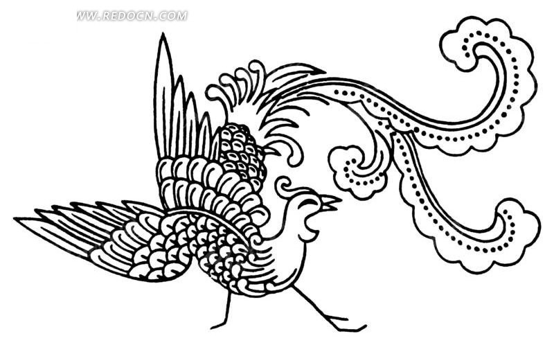 手绘回头的凤凰矢量图_传统图案