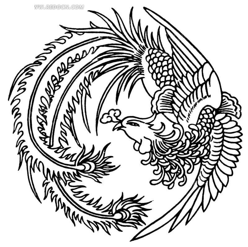 手绘圆形的凤凰图案; 凤凰古城手绘效果图;