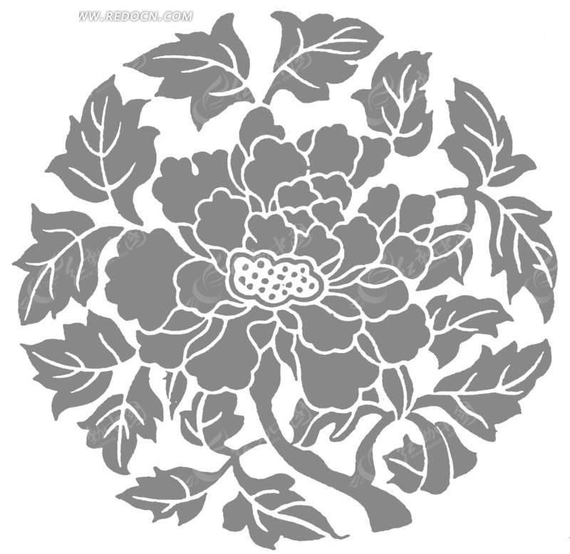 手绘圆形的花朵和叶子图案图片