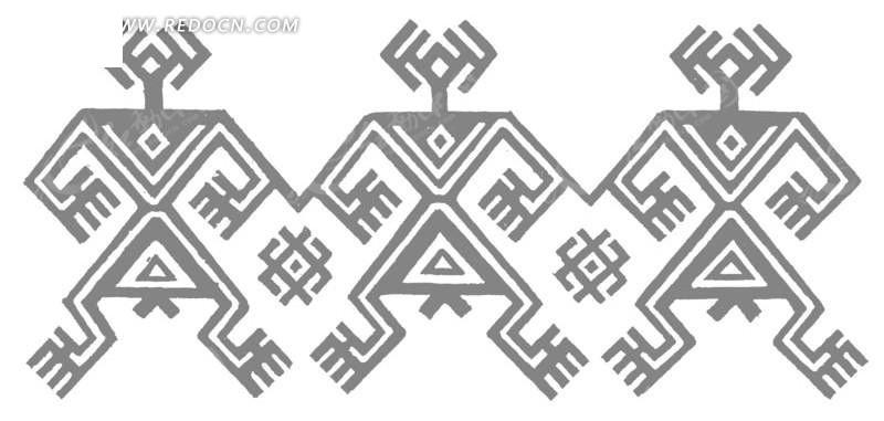 中国古典图案-几何形构成的黑白图案图片