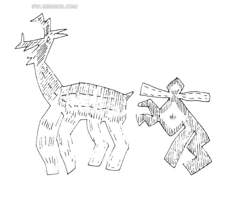 几何图形动物拼贴画 几何图形拼贴画盘点; 关键词:鹿扛木头的人动物