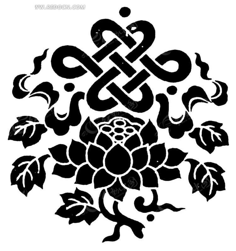 中国古典图案-花朵叶子和中国结构成的图案