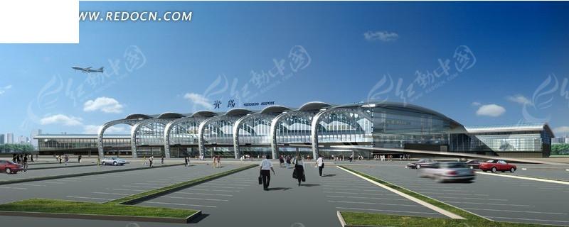 青岛流亭机场航站楼半鸟瞰日景效果图3dmax免费下载
