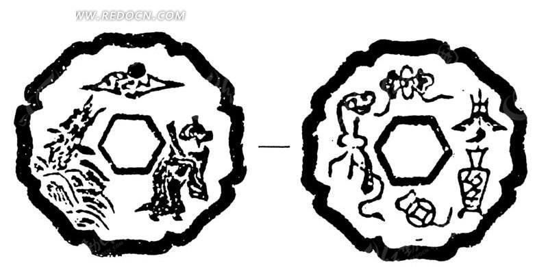 圆形花边边框的古钱币