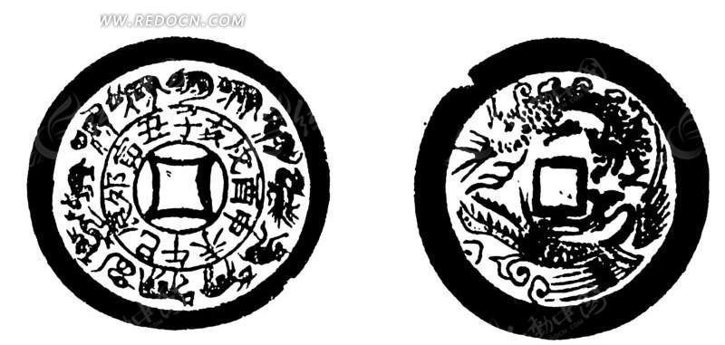 十二生肖八卦图和花纹图案的古钱币