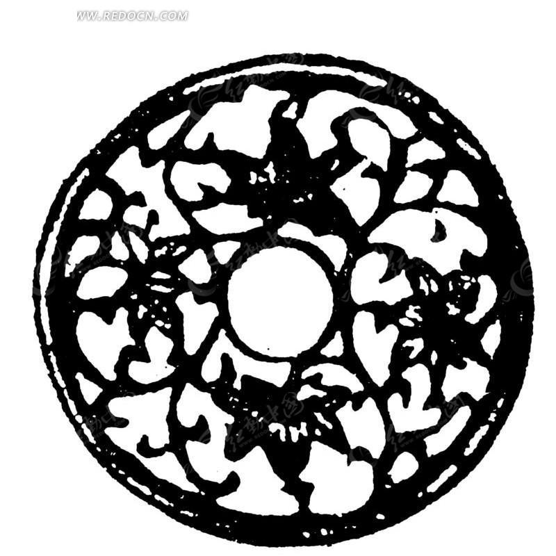 传统花纹圆孔古钱币图片