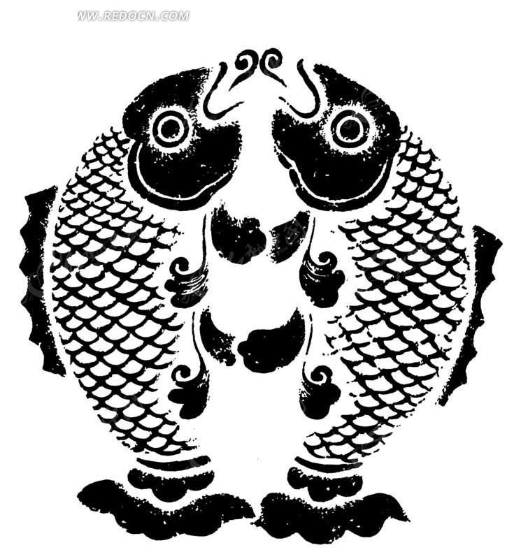 手绘一对草叶纹鲤鱼图-传统图案|纹样矢量图下; 中国传统吉祥图案