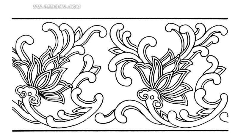 手绘古代建筑花朵