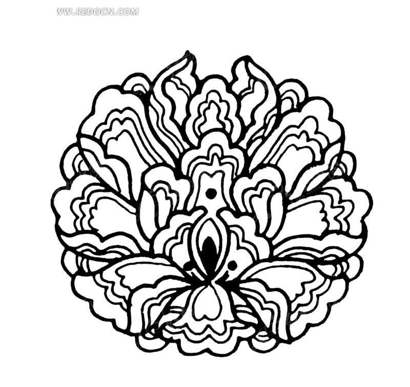 多层曲边花瓣纹构成的繁复纹牡丹图案