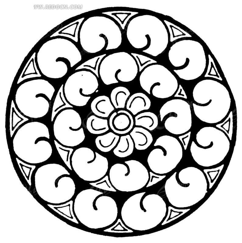 三角几何纹桃形花瓣纹构成的圆形图案矢量图_传统图案图片