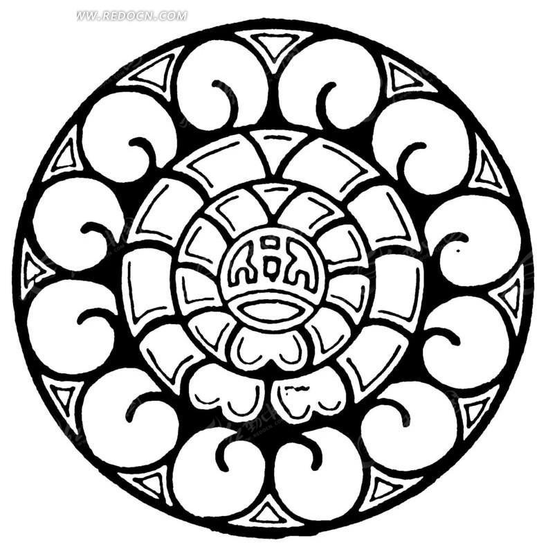 几何纹桃形花瓣纹构成的葵花圆形图案