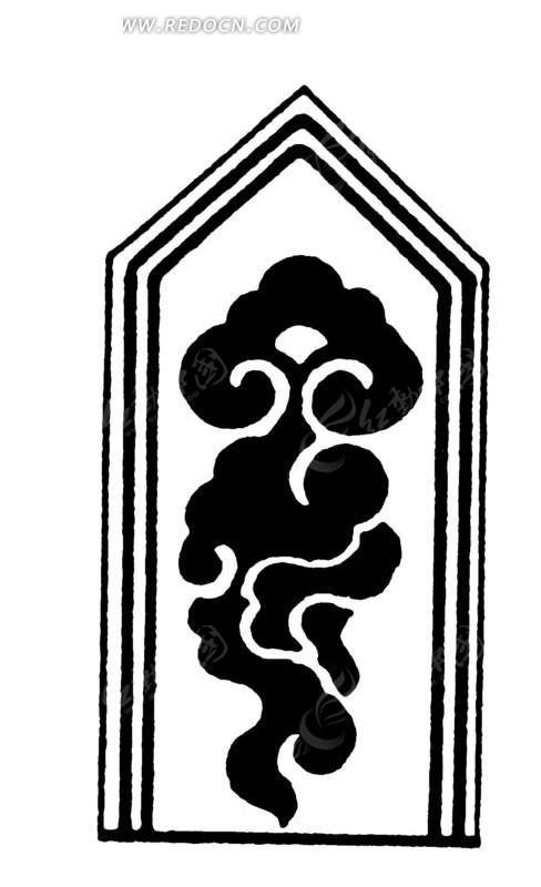 手绘方尖牌中祥云纹矢量图_传统图案