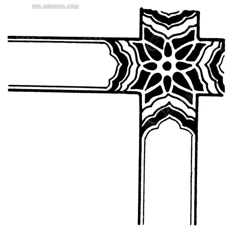 古典花纹 十字形 装饰边框 单色 ai矢量文件 传统图案 矢量素材