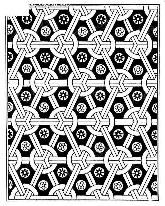 中国古典图案-几何形构成的连续纹样