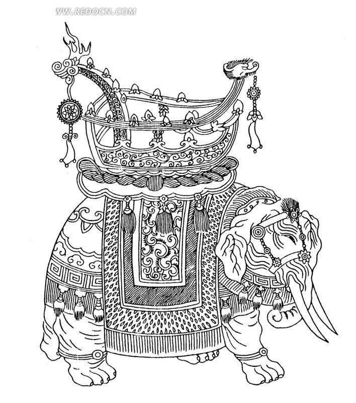 大象 鞍 龙 装饰物 精美 华丽 图案 中国风 中国古典 艺术 装饰 黑白