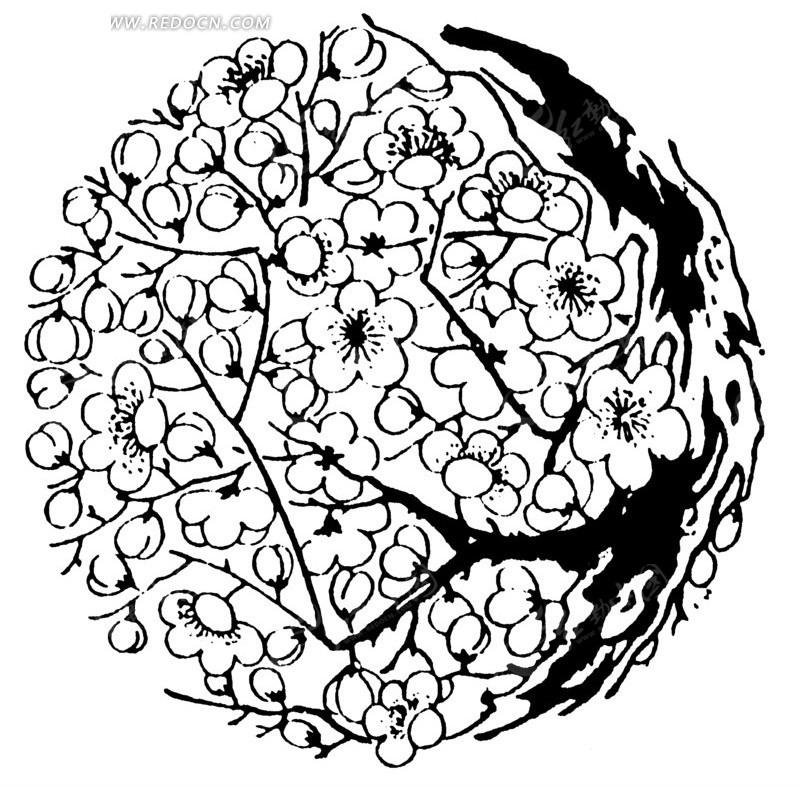 中国古典图案-梅花构成的圆形图案