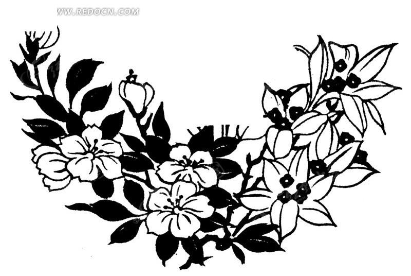 传统图案 > 矢量手绘美丽的花朵插画线条  免费下载我要改图 素材编号