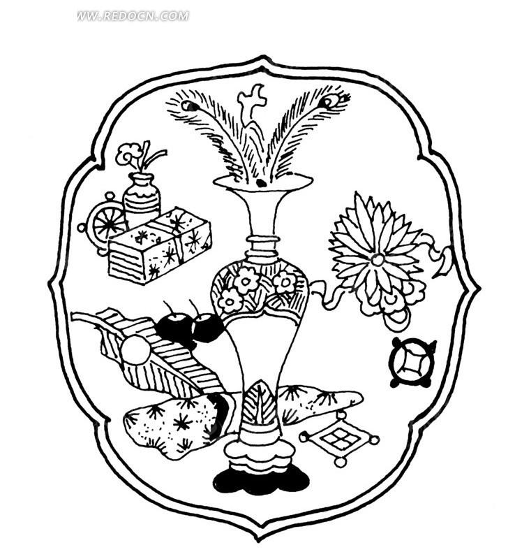 中国古典图案-瓶子里的装饰物和花朵等物