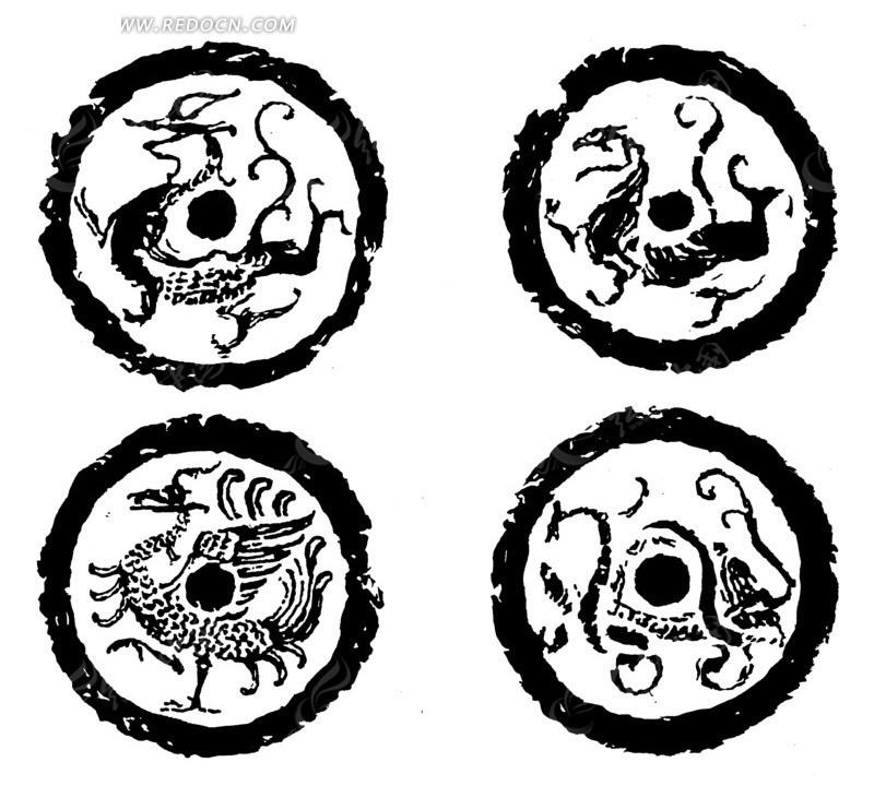 凤纹 斑驳 圆形图案 中国风 中国古典 艺术 装饰 黑白  传统图案 矢量