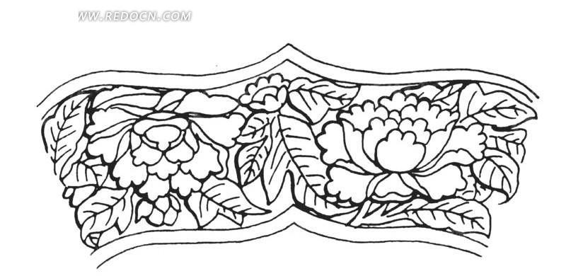 手绘叶子围绕的牡丹花纹理