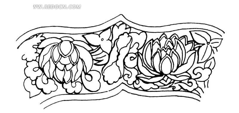 手绘叶子围绕的水莲花纹理