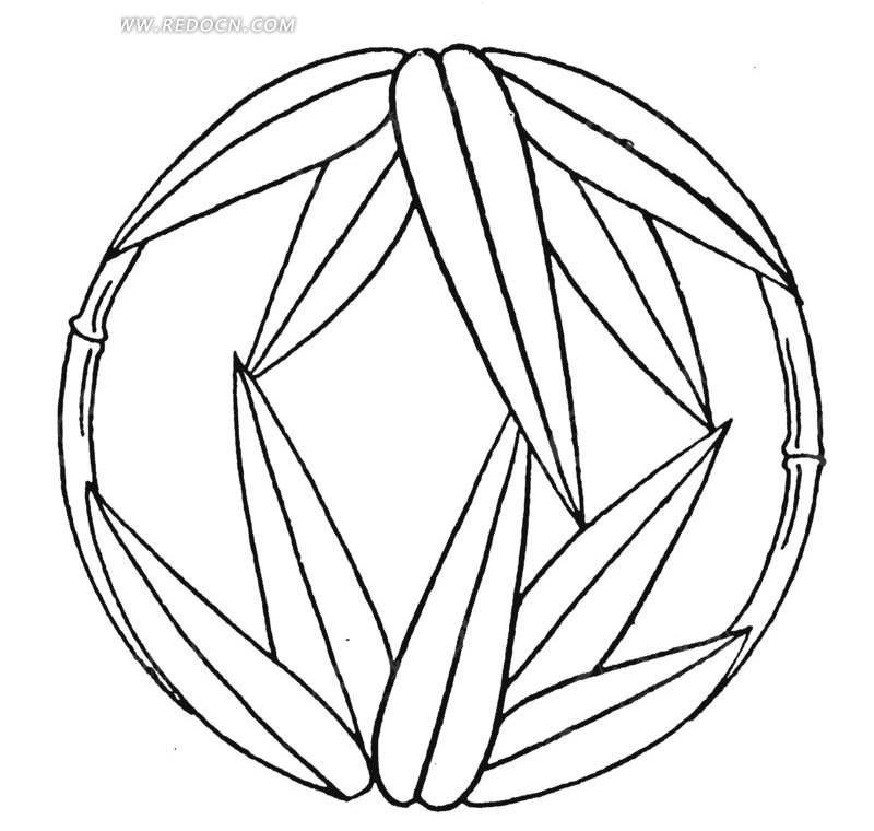 中国古典图案-竹叶竹节圆形图案图片