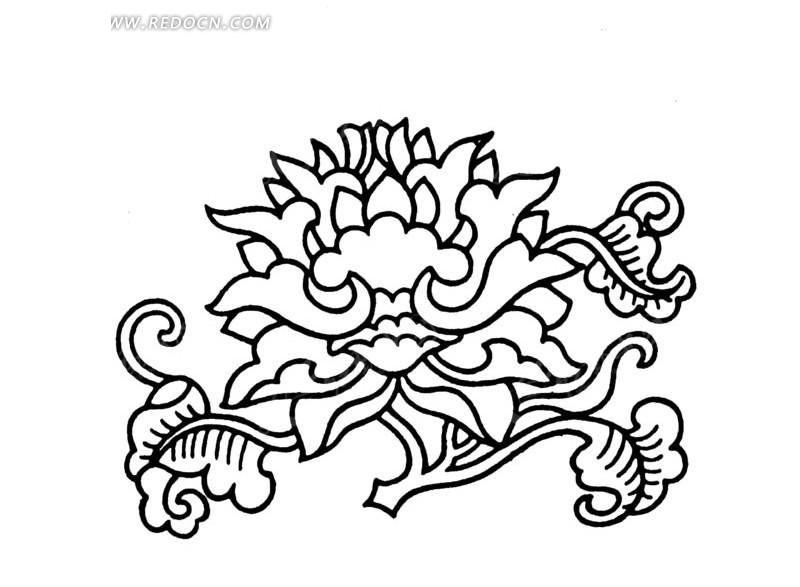 黑色线条 花朵 植物 叶子 手绘 线描图 矢量素材 传统图案