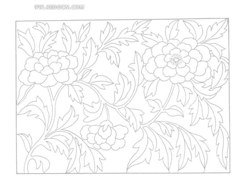 方形里盛开的花朵和叶子图案线描图