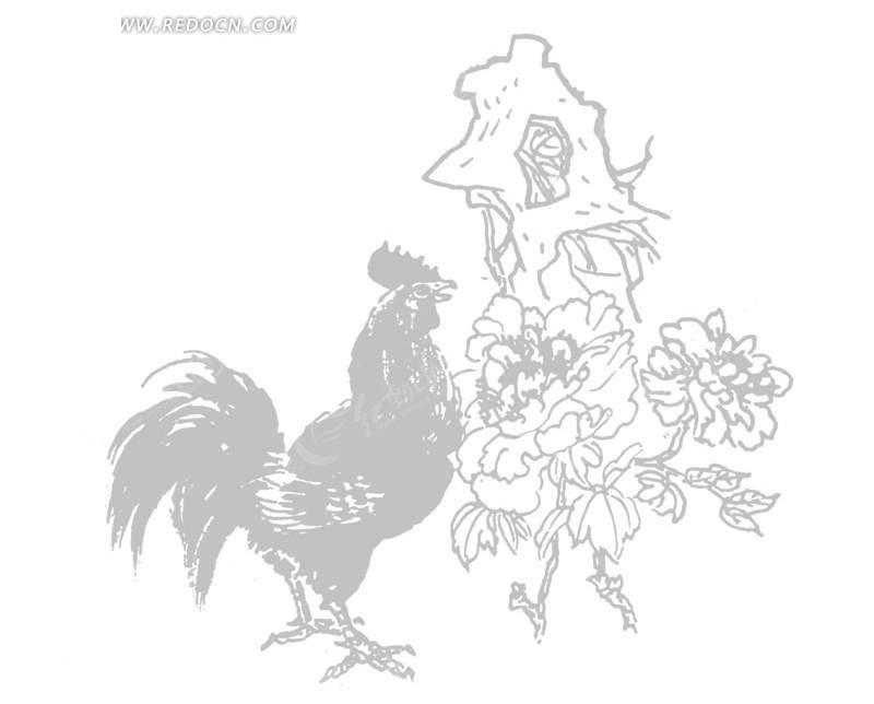 石头 花朵 公鸡 手绘 插画 矢量素材 传统图案