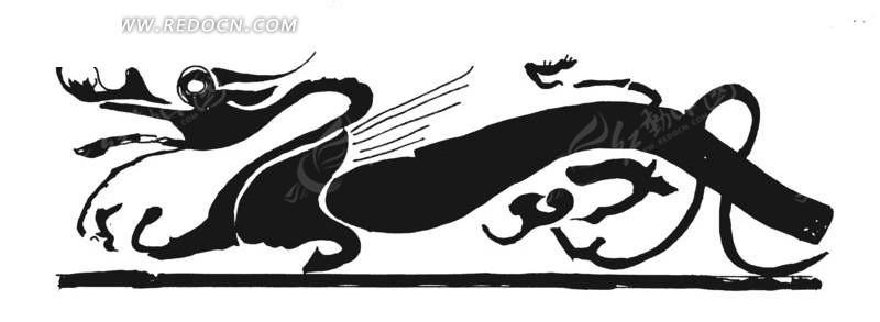 矢量古代龙形图纹剪影矢量图_传统图案; 手绘黑色的龙; 龙形矢量图