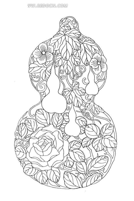 中国古典图案-葫芦形古物上的花朵和带叶脉的叶子图片