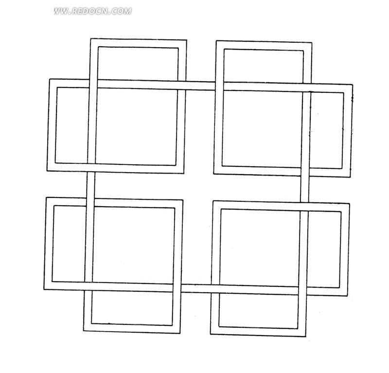 几何体构成的长方形循环对称图案图片