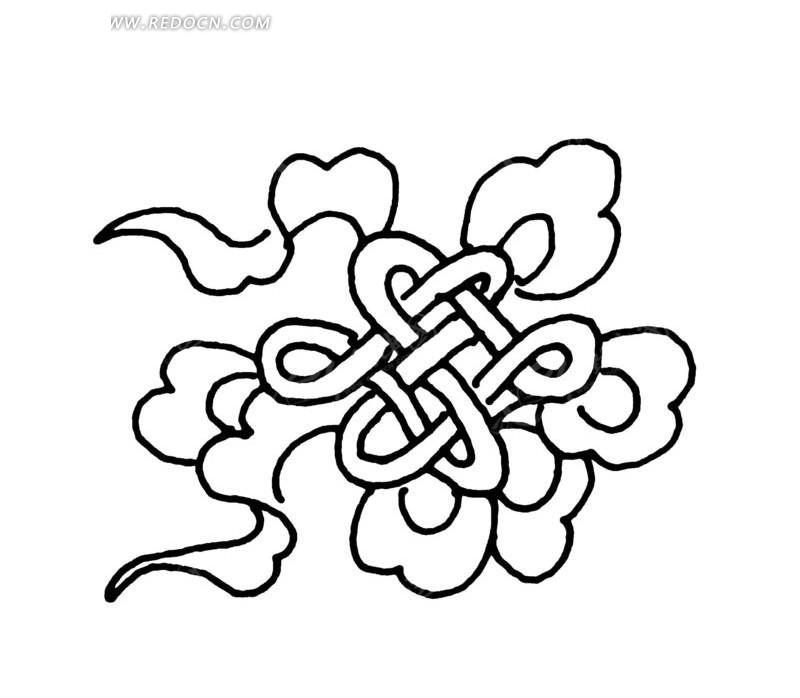 中国古典图案-中国结和彩带构成的图案