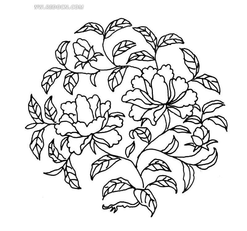 手绘茂密枝叶的牡丹花