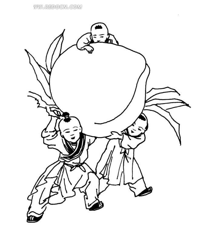 中国古典图案-三个古代儿童和寿桃