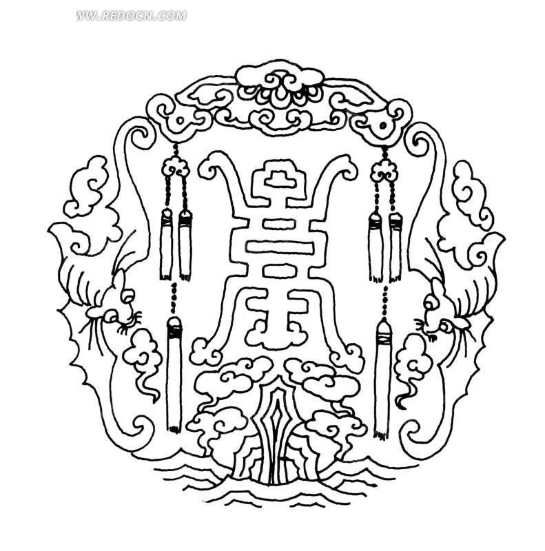 手绘 古典 花纹 一对吊穗 镂空 玉佩 黑色线条 ai矢量图  传统图案