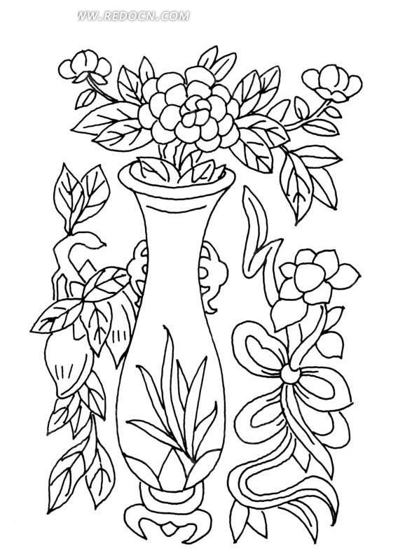 花瓶里盛开的花朵和系带子的花朵线描图AI素材免费下载 编号1486747