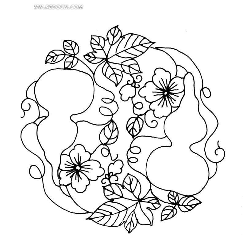 中国古典图案-葫芦和花朵叶子以及卷曲纹构成的圆形图案图片