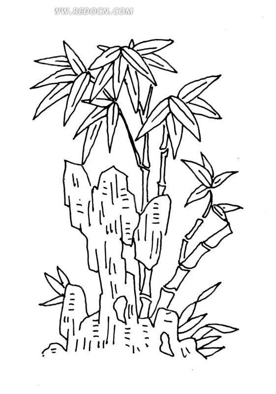岩石和竹子线描图