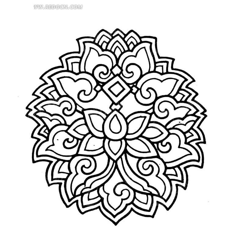 免费素材 矢量素材 艺术文化 传统图案 莲花装饰纹样线稿  请您分享