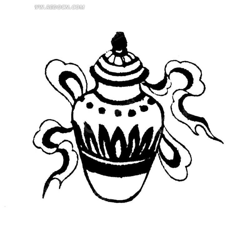 传统吉祥图案八吉祥(八宝)中的宝瓶矢量图ai免费下载