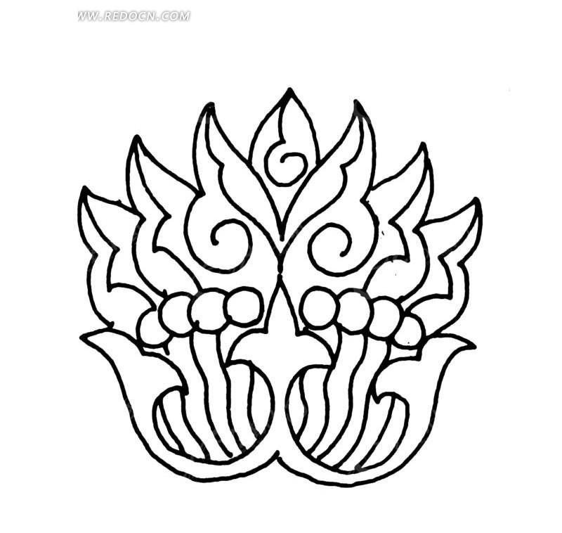 黑白花纹素材矢量图 传统图案