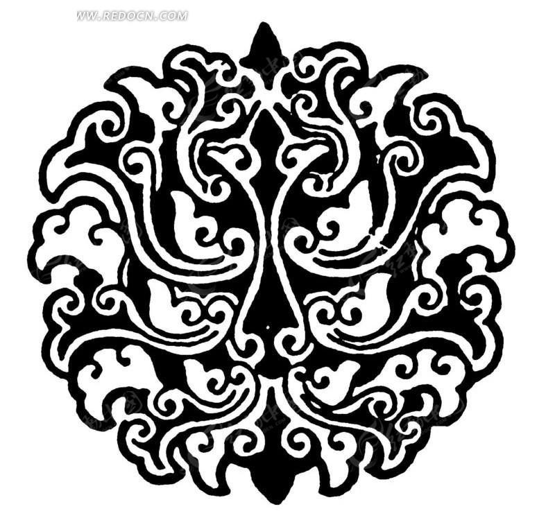 抽象黑白莲花纹ai素材免费下载_红动网