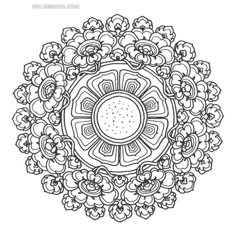 荷花纹组成的圆形图案
