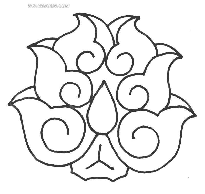 中国古典图案-卷曲纹六瓣花朵-传统图案|纹样矢; 手绘对称的莲花纹样