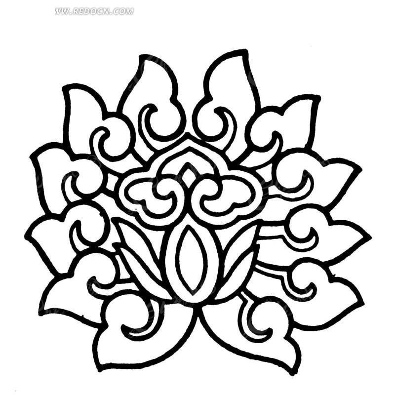 手绘线条精美的荷花ai免费下载_传统图案素材