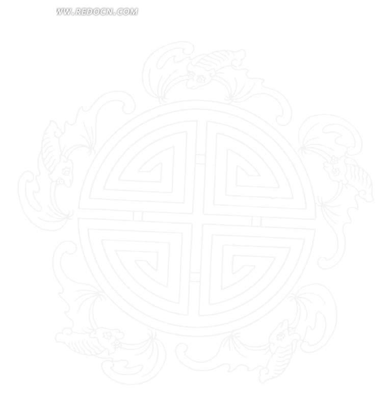 免费素材 矢量素材 艺术文化 传统图案 五福捧寿-五只蝙蝠围绕篆书寿