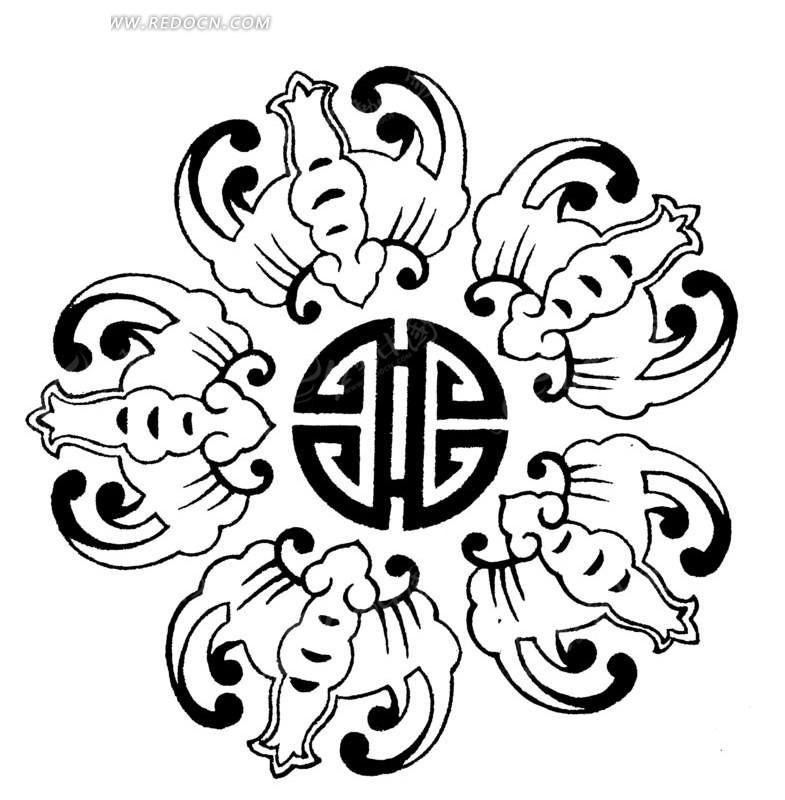 矢量素材 艺术文化 传统图案 传统蝙蝠纹和寿字组成-五福捧寿  请您