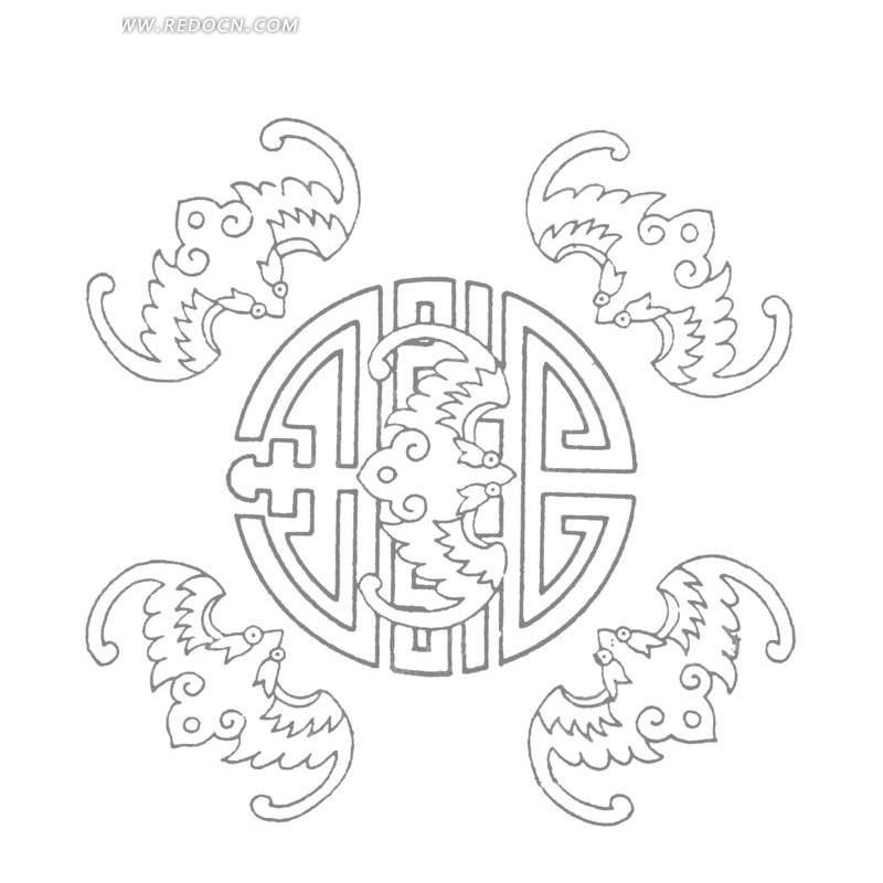矢量圆形五福花纹